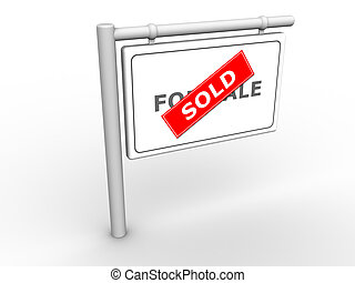 Info Sign Sold - 3d rendered image of a For Sale/Sold sign.