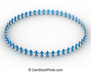 people in a circle - 3d people in a big circle.
