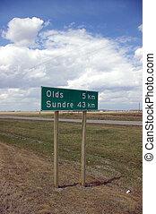 Road Sign - A rural Alberta road sign