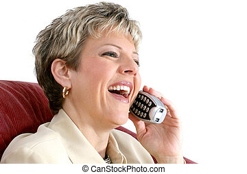 Business Woman Phone - Thirty-six year old woman speaking on...