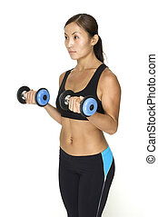 Dumbbell Curl 4 - A fitness instructor demonstrates the...