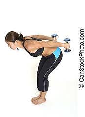 Tricep Kickbacks 2 - A female fitness instructor...