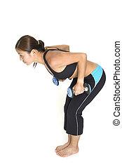 Triceps Kickbacks 1 - A female fitness instructor...