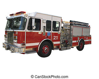 Firetruck on white - Side view of firetruck isolated on...