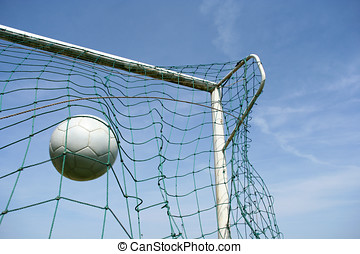 GOAL - Picture of a soccer ball hitting the target