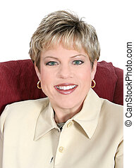 Business Woman in Beige Up Close - Portrait of a successful...