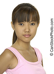 Asian Model 20 - A cute young asian girl in a pink top and a...