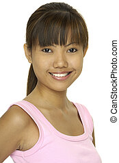 Asian Model 21 - A young pretty asian girl in a pink top...
