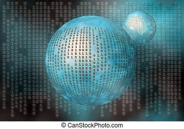 Binary code - Binary code, the internet, data transfer, a...