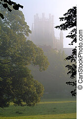 Tranquility - Morning mist, Ely cathedral, England. The...