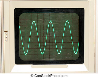 Oscilloscope Trace - Sine Wave on Oscilloscope screen