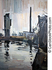 The Odra River - 70x100 cm Oil on canvas Author: Andreas...