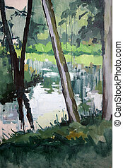 Bucolic brook - 70x100 cm. Oil on canvas. Author: Andreas...