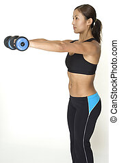 Dumbbell Raise 4 - A female fitness instructor demonstrates...