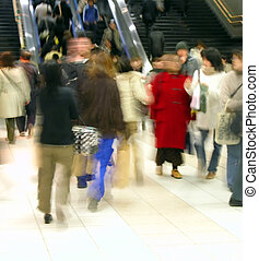 Commuter Pass 1 - crowd in motion in a train station