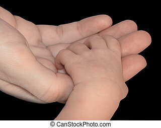 Holding Hands - An infants hand in a mothers hand