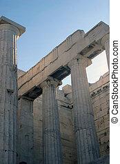 Doric columns - Columns at the entrance to Acropolis -...