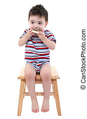 Boy Child Cookie - Baby Boy Eating Chocolate Iced Sugar...