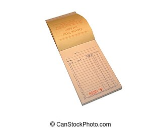 Receipt book - Open receipt book with blank page