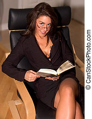 Sexy Woman on chair - Attractive Librarian, Book Worm,...