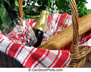 Picnic Basket - Picnic basket with wine, glasses and bread