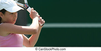 niña, juego, tenis