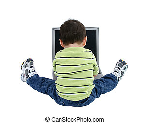 Boy Child Laptop - Back side of a toddler boy working on a...