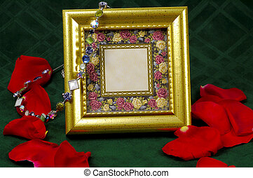 Picture Frame - Gold Picture Frame With Bracelet and Rose...