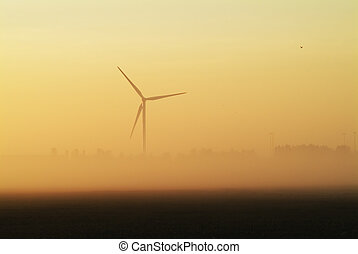 Whitemoor turbine - Wind turbine through early morning mist...