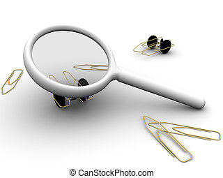 Magnifying PaperClip - 3d rendered image of a magnifying...
