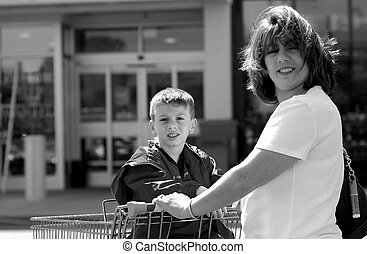 Woman and Son Shopping