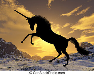 Unicorn - A fantastic unicorn silhouetted against the sunset
