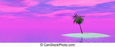 Palm Tree Sunset - An island scene with palm tree at sunset