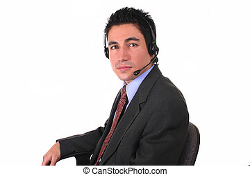 man-headset-chair - call center worker, taking a break