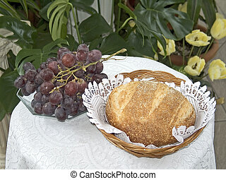 Food of Life - This a still life photo of grapes and bread