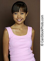 Asian In Pink 1 - A pretty young asian woman in a pink to on...