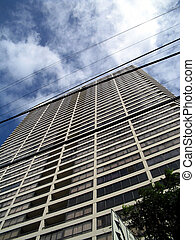 Hono HiRise - Honolulu high-rise with utility wires crossing...