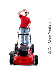 Man Lawn Mower - Man in Sunglasses with Red Lawn Mower Over...
