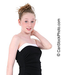 Teen Girl Formal - Beautiful Teen In Black Formal Dress Shot...