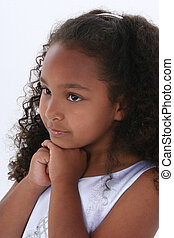Girl Child Portrait - Close-up of a Six Year Old Girl Over...