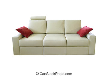 white sofa - white leather couch isolated on white