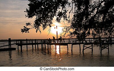 Sunset From A Dock
