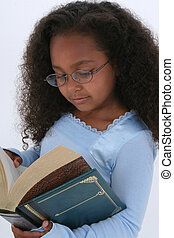 Girl Child Reading - Beautiful Six Year Old In Glasses...