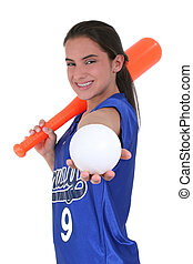 Teen Girl Softball - Adorable Teen With In Uniform With Toy...