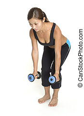 Bent Over Rows 1 - A female fitness instructor demonstrates...