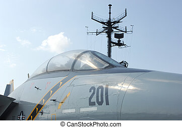 F-14 Tomcat fighter jet on deck of aircraft carrier