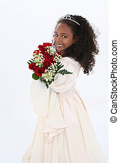 Girl Child Flowers - Beautiful Six Year Old Girl With Red...