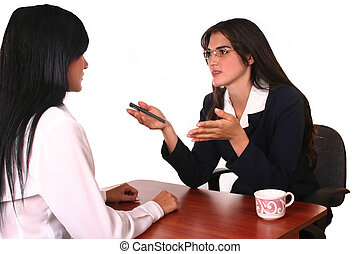 business negotiation - businesswoman attending a client,...