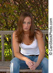 Young Woman 5 - Pretty, young woman modeling in garden...
