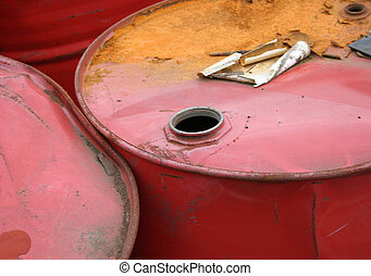 Red barrels - Corroded oil cans